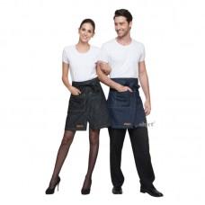 [兩色任選]前開叉設計半身牛仔圍裙