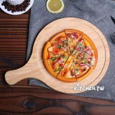 實木圓形帶把比薩板