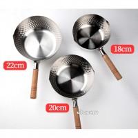 日式不鏽鋼雪平鍋-木柄加裝掛環