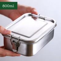 [304]不銹鋼長方形密封便當盒(附移動格片)-800ml
