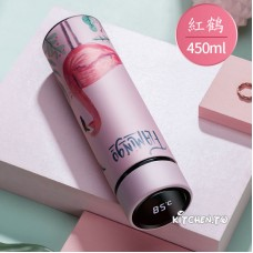 [紅鶴圖案]智能測溫不鏽鋼保溫瓶(450ml)